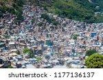 aerial view of favela rocinha...   Shutterstock . vector #1177136137