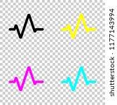 simple pulse icon. colored set...