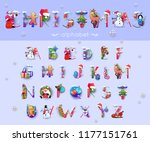vector christmas  font and... | Shutterstock .eps vector #1177151761