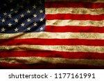 closeup of grunge american flag | Shutterstock . vector #1177161991