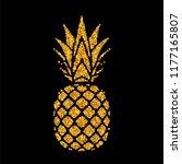 pineapple golden with leaf.... | Shutterstock .eps vector #1177165807
