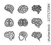 neurology brain icon vector set.... | Shutterstock .eps vector #1177172584