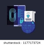 data security with smartphone | Shutterstock .eps vector #1177173724