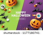 happy halloween party... | Shutterstock .eps vector #1177180741