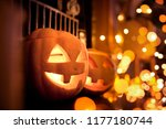 halloween pumpkins at home on a ... | Shutterstock . vector #1177180744
