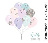 cute kawaii balloons. for... | Shutterstock .eps vector #1177187554