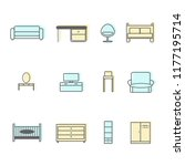 furniture icons vector ... | Shutterstock .eps vector #1177195714