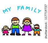 family  hand writing cartoon .... | Shutterstock .eps vector #117719737