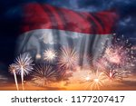 holiday sky with fireworks and... | Shutterstock . vector #1177207417