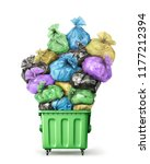 trash container full of garbage ...   Shutterstock . vector #1177212394