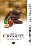 chocolate label with hazelnut.... | Shutterstock .eps vector #1177217164