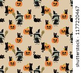 halloween witch and black cat... | Shutterstock .eps vector #1177220467