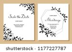 set of wedding card with rosa... | Shutterstock .eps vector #1177227787