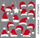 santa caps isolated on grey... | Shutterstock .eps vector #117723601