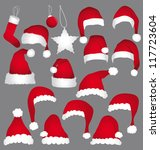 santa caps isolated on grey... | Shutterstock . vector #117723604