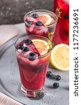 fresh blueberry summer mojito... | Shutterstock . vector #1177236691