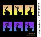 set of bonsai  black silhouette ... | Shutterstock .eps vector #1177247317