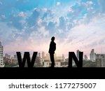 silhouette business man on city ...   Shutterstock . vector #1177275007