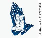 boy and girl prayer  christian... | Shutterstock .eps vector #1177293364