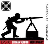 silhouette of german soldier of ... | Shutterstock .eps vector #1177318447