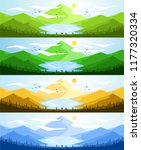 landscape with mountains and... | Shutterstock . vector #1177320334