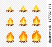 set of camp fire sprites for... | Shutterstock .eps vector #1177324141