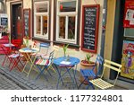 an outdoor cafe on the... | Shutterstock . vector #1177324801