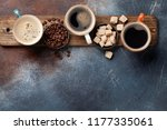 coffee cups  beans and brown... | Shutterstock . vector #1177335061