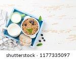 healthy breakfast set with... | Shutterstock . vector #1177335097