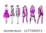 sketch. fashion girls on a... | Shutterstock .eps vector #1177340371