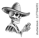dead mexican with a tequila... | Shutterstock . vector #1177346551