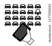 rent a car through a mobile app....   Shutterstock .eps vector #1177353451