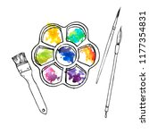 vector drawing art palette with ... | Shutterstock .eps vector #1177354831