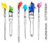 vector drawing paintbrushes... | Shutterstock .eps vector #1177354834