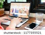 hand tying labtop computer with ... | Shutterstock . vector #1177355521