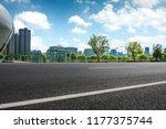 long empty footpath in modern... | Shutterstock . vector #1177375744