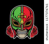 lucha libre tattoo  vector eps... | Shutterstock .eps vector #1177376761