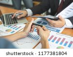 businessmen are discussing and... | Shutterstock . vector #1177381804