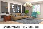 interior of the living room. 3d ... | Shutterstock . vector #1177388101