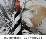 lighthouse on an abstract black ... | Shutterstock . vector #1177405231