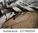 abstract black and white waves  ... | Shutterstock . vector #1177405234
