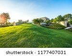 green lawn with city skyline in ... | Shutterstock . vector #1177407031