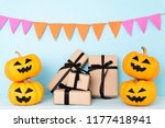 yellow ghost pumpkin with gift... | Shutterstock . vector #1177418941