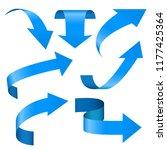 blue arrows set. 3d web icons.... | Shutterstock .eps vector #1177425364