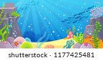 sea bottom. vector illustration ... | Shutterstock .eps vector #1177425481