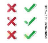 check mark stickers | Shutterstock .eps vector #117742681