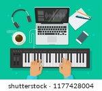 musician workspace studio... | Shutterstock .eps vector #1177428004