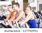 indoor biking in a fitness club