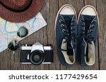 top view travel concept with... | Shutterstock . vector #1177429654