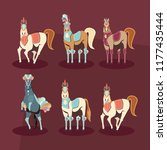 carnival horses set with masks... | Shutterstock .eps vector #1177435444